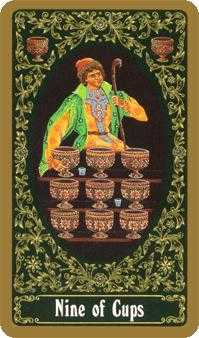 Nine of Bowls Tarot Card - Russian Tarot Deck