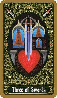 Three of Arrows Tarot Card - Russian Tarot Deck