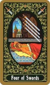 Four of Arrows Tarot Card - Russian Tarot Deck