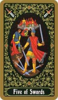 Five of Wind Tarot Card - Russian Tarot Deck