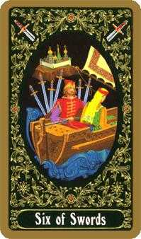 Six of Swords Tarot Card - Russian Tarot Deck