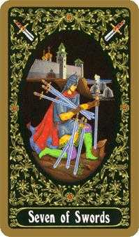Seven of Swords Tarot Card - Russian Tarot Deck