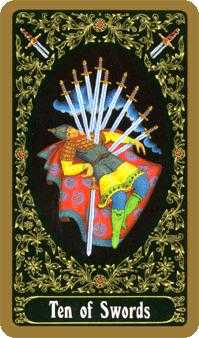 Ten of Arrows Tarot Card - Russian Tarot Deck