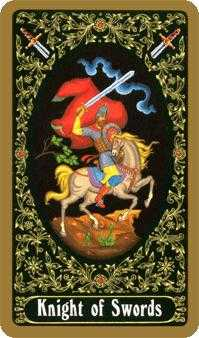 Knight of Spades Tarot Card - Russian Tarot Deck