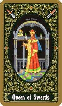 Queen of Arrows Tarot Card - Russian Tarot Deck