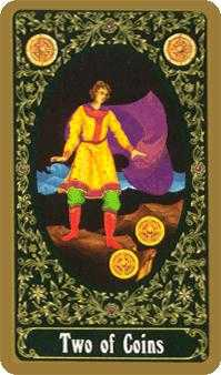 Two of Coins Tarot Card - Russian Tarot Deck