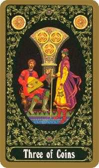Three of Coins Tarot Card - Russian Tarot Deck