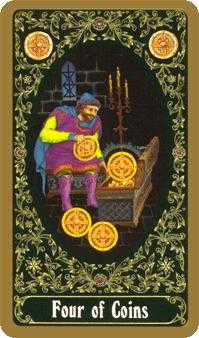 Four of Coins Tarot Card - Russian Tarot Deck
