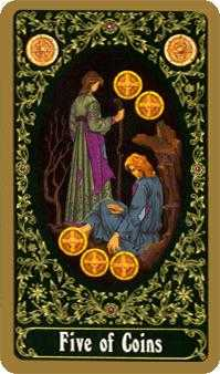 Five of Pentacles Tarot Card - Russian Tarot Deck