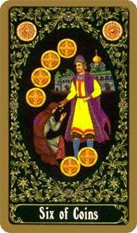 Six of Coins Tarot Card - Russian Tarot Deck