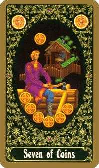 Seven of Coins Tarot Card - Russian Tarot Deck