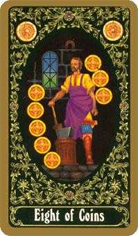 Eight of Coins Tarot Card - Russian Tarot Deck
