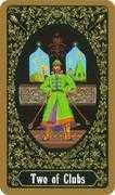Two of Clubs Tarot card in Russian Tarot deck