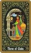 Three of Clubs Tarot card in Russian Tarot deck