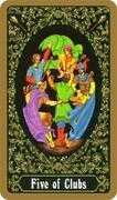 Five of Clubs Tarot card in Russian Tarot deck