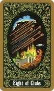 Eight of Clubs Tarot card in Russian Tarot deck