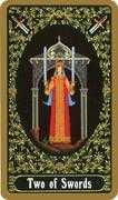 Two of Swords Tarot card in Russian Tarot deck