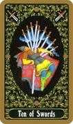 Ten of Swords Tarot card in Russian Tarot deck