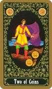 Two of Coins Tarot card in Russian Tarot deck