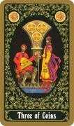 Three of Coins Tarot card in Russian Tarot deck