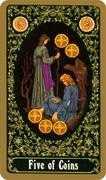 Five of Coins Tarot card in Russian Tarot deck