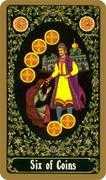 Six of Coins Tarot card in Russian Tarot deck