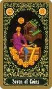 Seven of Coins Tarot card in Russian Tarot deck