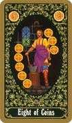 Eight of Coins Tarot card in Russian Tarot deck