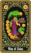 Nine of Coins Tarot card in Russian Tarot deck
