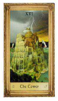 The Falling Tower Tarot Card - Sacred Art Tarot Deck