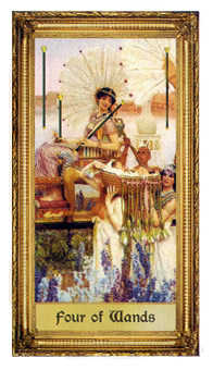 Four of Batons Tarot Card - Sacred Art Tarot Deck