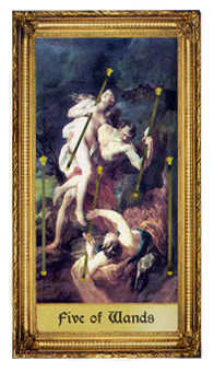 Five of Batons Tarot Card - Sacred Art Tarot Deck