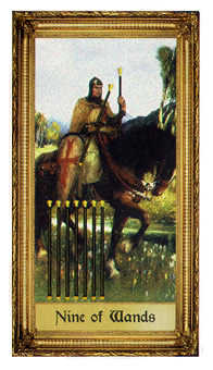 Nine of Batons Tarot Card - Sacred Art Tarot Deck