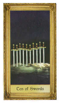 Ten of Swords Tarot Card - Sacred Art Tarot Deck
