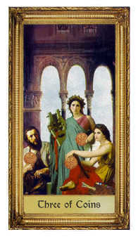 Three of Discs Tarot Card - Sacred Art Tarot Deck