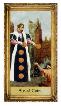 Six of Pentacles Tarot Card - Sacred Art Tarot Deck