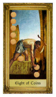 Eight of Coins Tarot Card - Sacred Art Tarot Deck