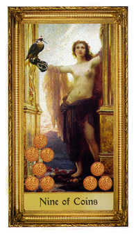 Nine of Coins Tarot Card - Sacred Art Tarot Deck