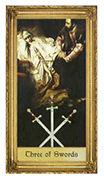 Three of Swords Tarot card in Sacred Art Tarot deck