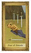 Four of Swords Tarot card in Sacred Art deck