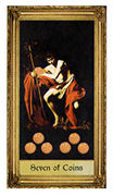 Seven of Coins Tarot card in Sacred Art deck