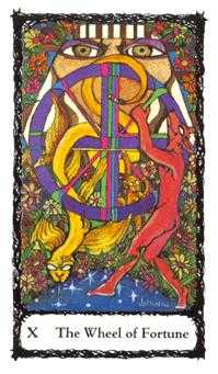 Wheel of Fortune Tarot Card - Sacred Rose Tarot Deck
