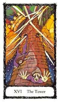 The Falling Tower Tarot Card - Sacred Rose Tarot Deck