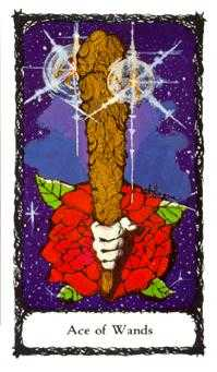 Ace of Batons Tarot Card - Sacred Rose Tarot Deck