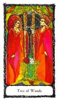 Two of Sceptres Tarot Card - Sacred Rose Tarot Deck