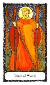 Three of Batons Tarot Card - Sacred Rose Tarot Deck