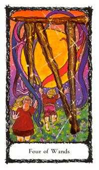 Four of Staves Tarot Card - Sacred Rose Tarot Deck