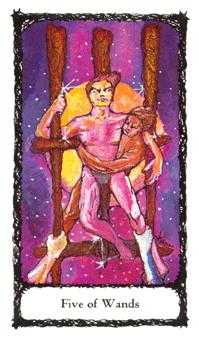 Five of Rods Tarot Card - Sacred Rose Tarot Deck