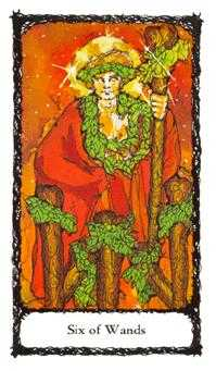 Six of Staves Tarot Card - Sacred Rose Tarot Deck