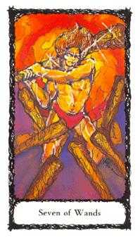 Seven of Rods Tarot Card - Sacred Rose Tarot Deck